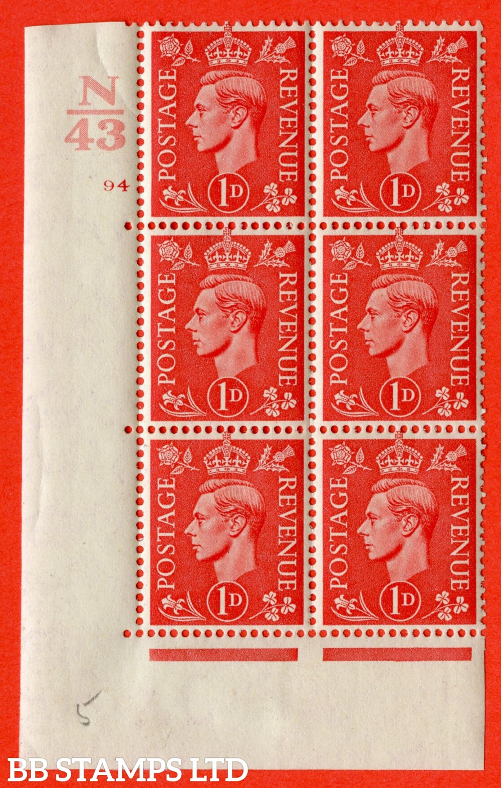 "SG. 486. Q5. 1d Pale scarlet. A fine lightly mounted mint "" Control N43 cylinder 94 no dot "" control block of 6 with perf type 5 E/I."