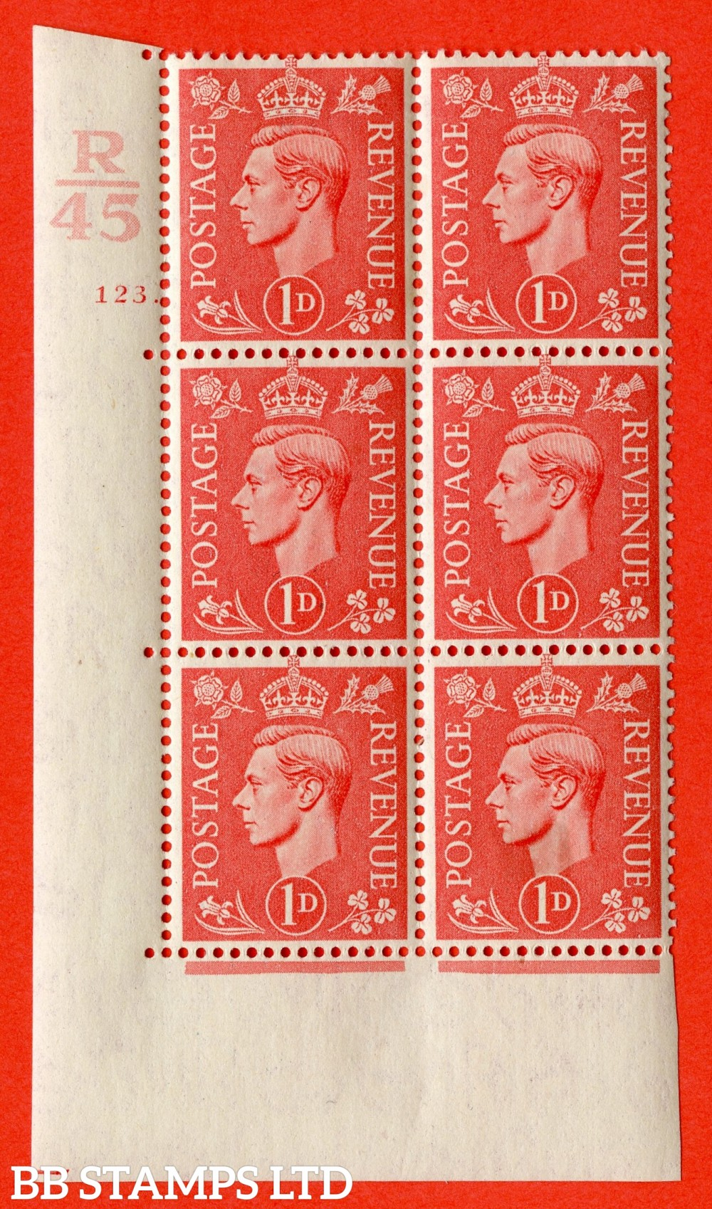 "SG. 486. Q5. 1d Pale scarlet. A fine lightly mounted mint "" Control R45 cylinder 123 dot "" control block of 6 with perf type 5 E/I."