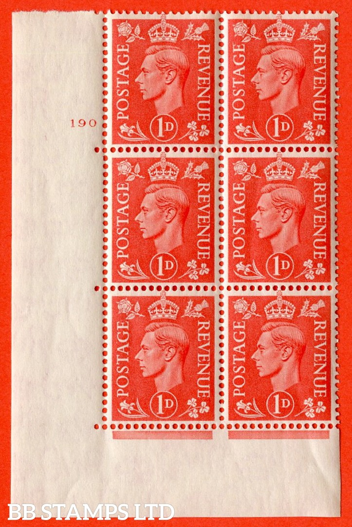 "SG. 486. Q5A. 1d Pale scarlet. A superb UNMOUNTED MINT "" No Control  cylinder 190 dot "" control block of 6 with perf type 5 E/I."