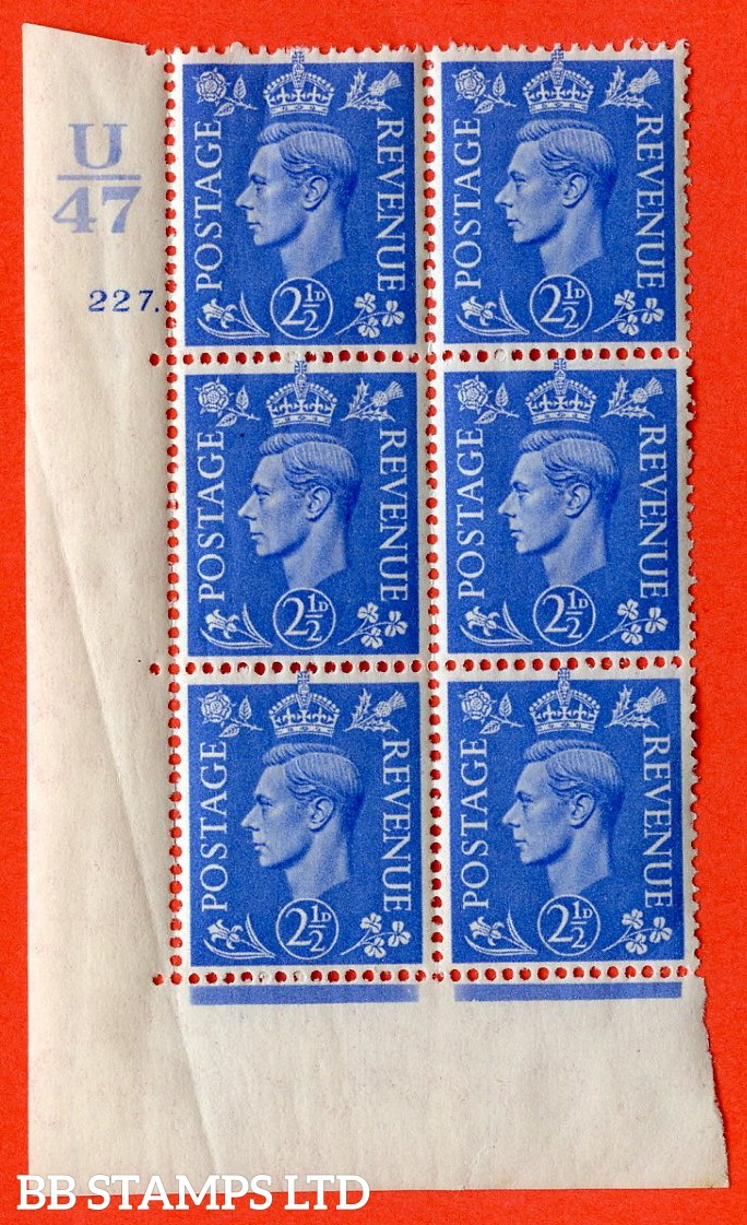 "SG. 489. Q14. 2½d Light ultramarine. A superb UNMOUNTED MINT ""  Control U47 cylinder 227 dot "" control block of 6 with perf type 5 E/I. Creased."