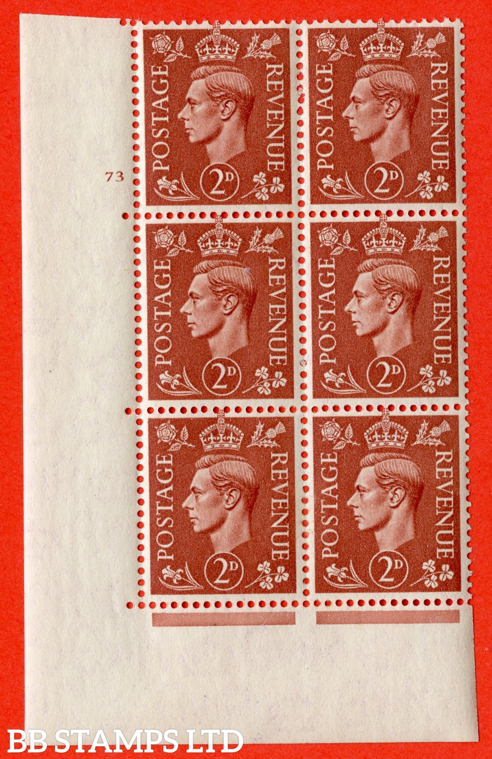 "SG. 506. Q12. 2d Pale Red-Brown. A fine lightly mounted mint "" No Control cylinder 73 no dot "" control block of 6 with perf type 5 E/I."