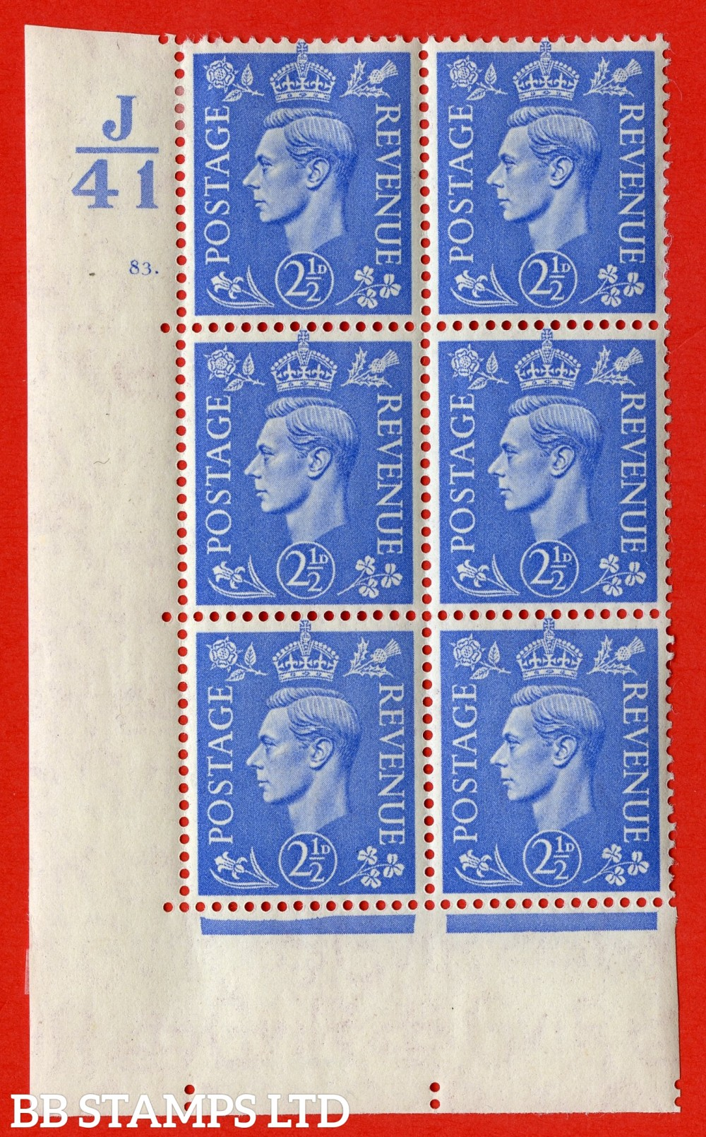 "SG. 489. Q14. 2½d Light ultramarine. A very fine lightly mounted mint ""  Control J41 cylinder 83 dot "" control block of 6 with perf type 5 E/I."