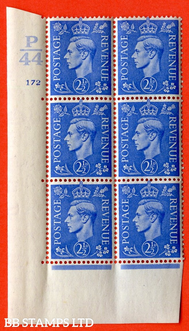 "SG. 489. Q14. 2½d Light ultramarine. A  superb UNMOUNTED MINT ""  Control P44 cylinder 172 no dot "" control block of 6 with perf type 5 E/I."