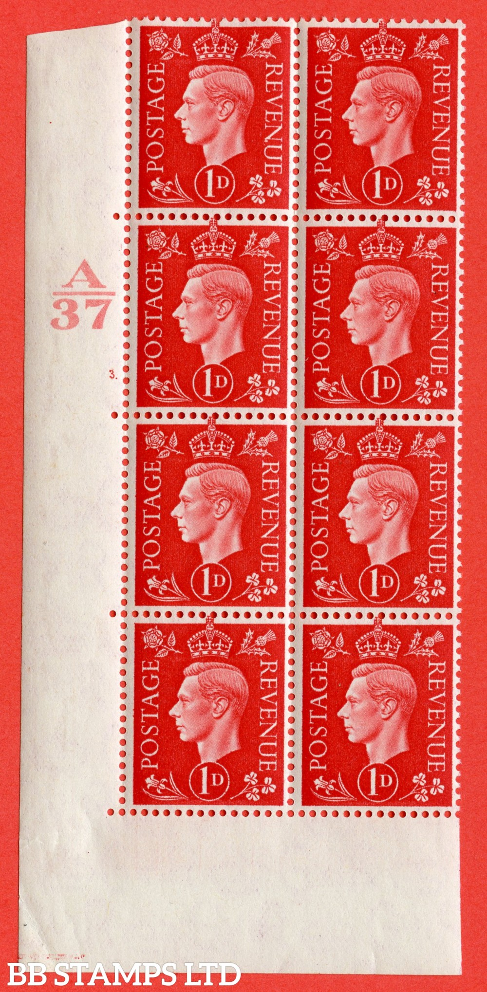 "SG. 463. Q4. c. 1d Scarlet. A very fine lightly mounted mint "" Control A37 cylinder 3 dot "" block of 8 with perf type 5 E/I with marginal rule. With variety "" Extra serif to N "" row 17/1."