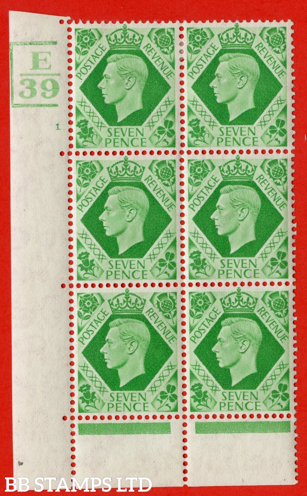 """SG. 471. Q23. 7d Emerald-Green. A fine lightly mounted mint """" Control E39 Bars bottom top and left cylinder 1 no dot """" control block of 6 with perf type 6B E/P."""