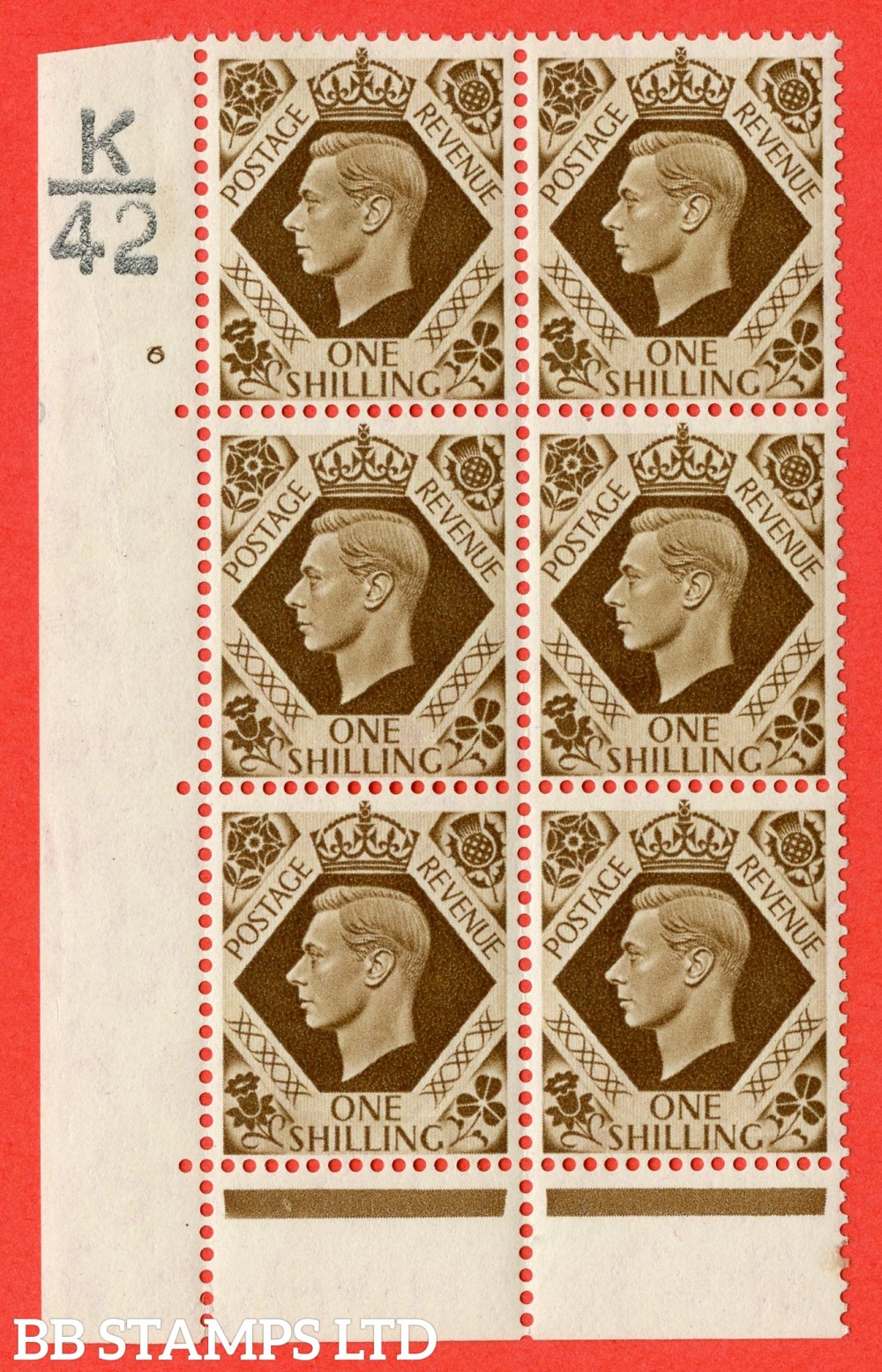 "SG. 475. Q28. 1/- Bistre-Brown. A superb UNMOUNTED MINT "" Control K42 cylinder 6 no dot "" control block of 6 with perf type 6B E/P."