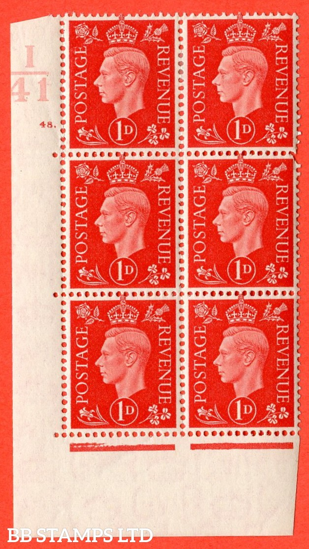 "SG. 463. Q4. 1d Scarlet. A very fine lightly mounted mint "" Control I41 cylinder 48 dot "" block of 6 with perf type 5 E/I with marginal rule."
