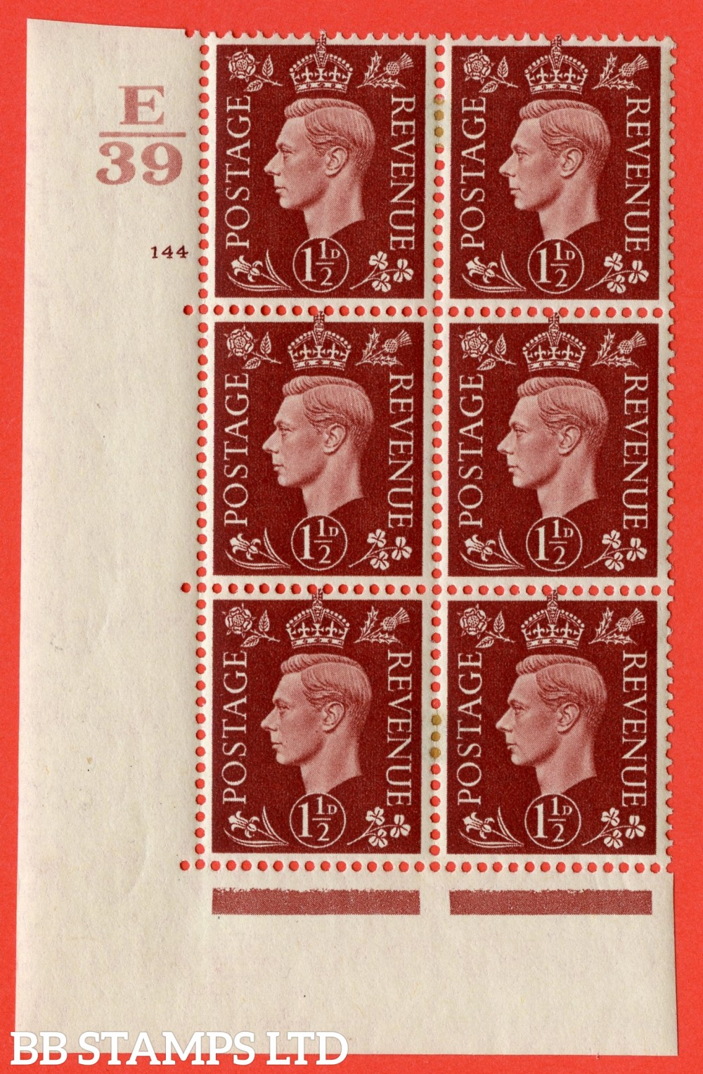 "SG. 464. Q7. 1½d Red-Brown. A very fine mounted mint "" Control F39 cylinder 144 no dot "" control block of 6 with perf type 5 E/I. with marginal rule."