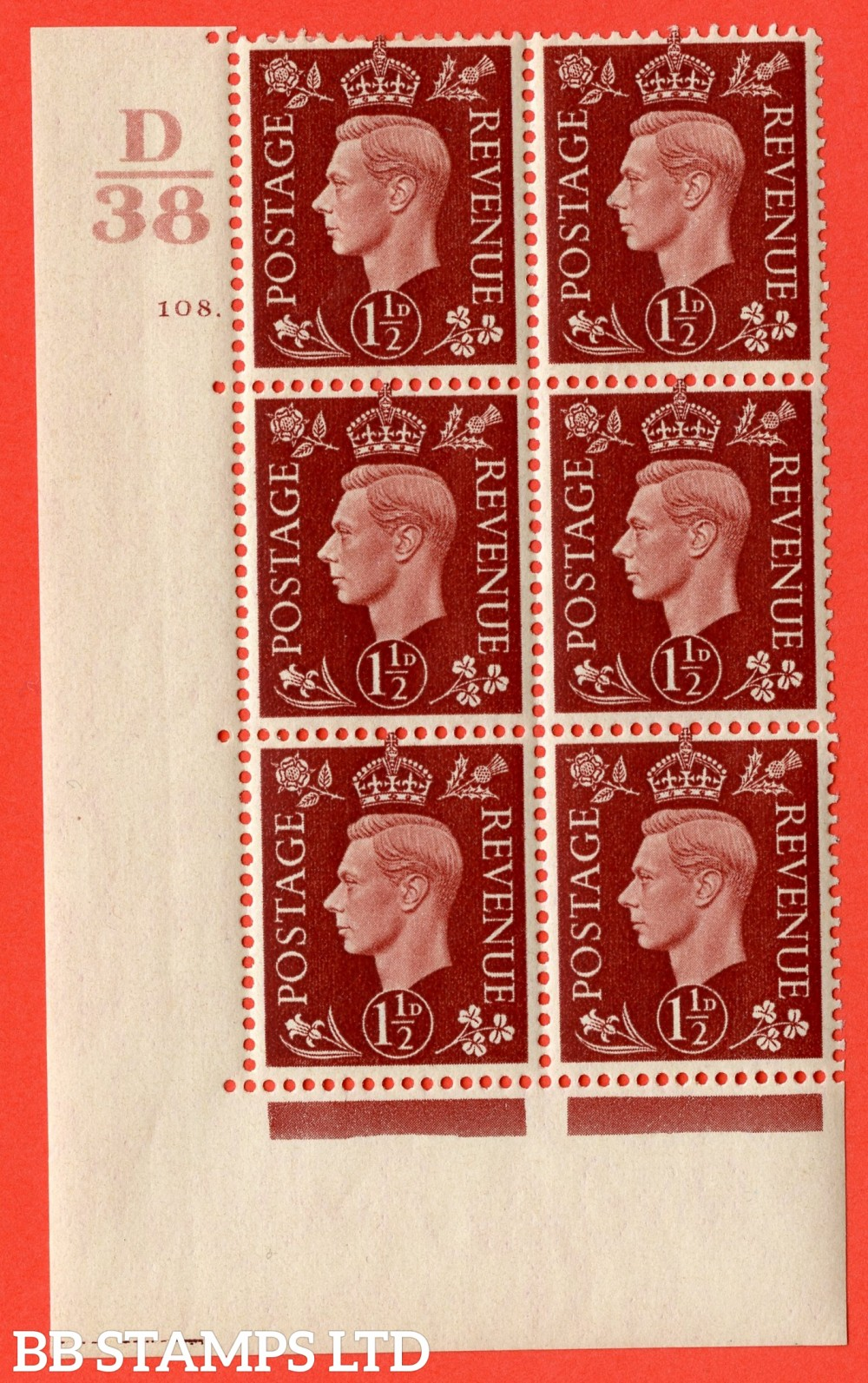 "SG. 464. Q7. 1½d Red-Brown. A very fine mounted mint "" Control D38 cylinder 108 dot "" control block of 6 with perf type 5 E/I. with marginal rule."