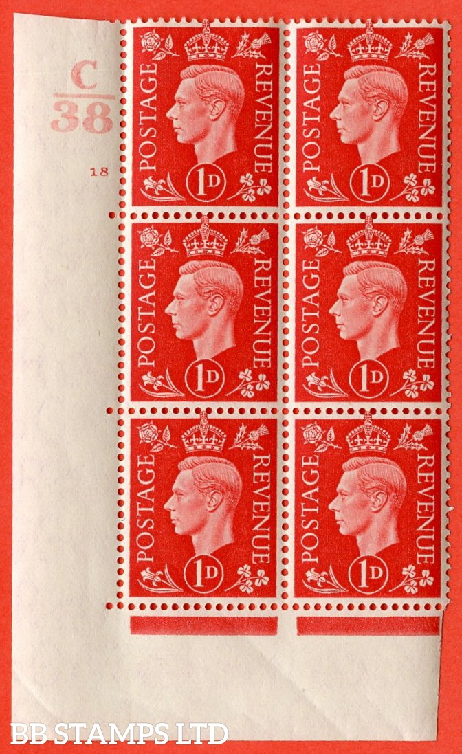 "SG. 463. Q4. 1d Scarlet. A superb UNMOUNTED MINT "" Control C38 cylinder 18 no dot "" block of 6 with perf type 5 E/I with marginal rule."