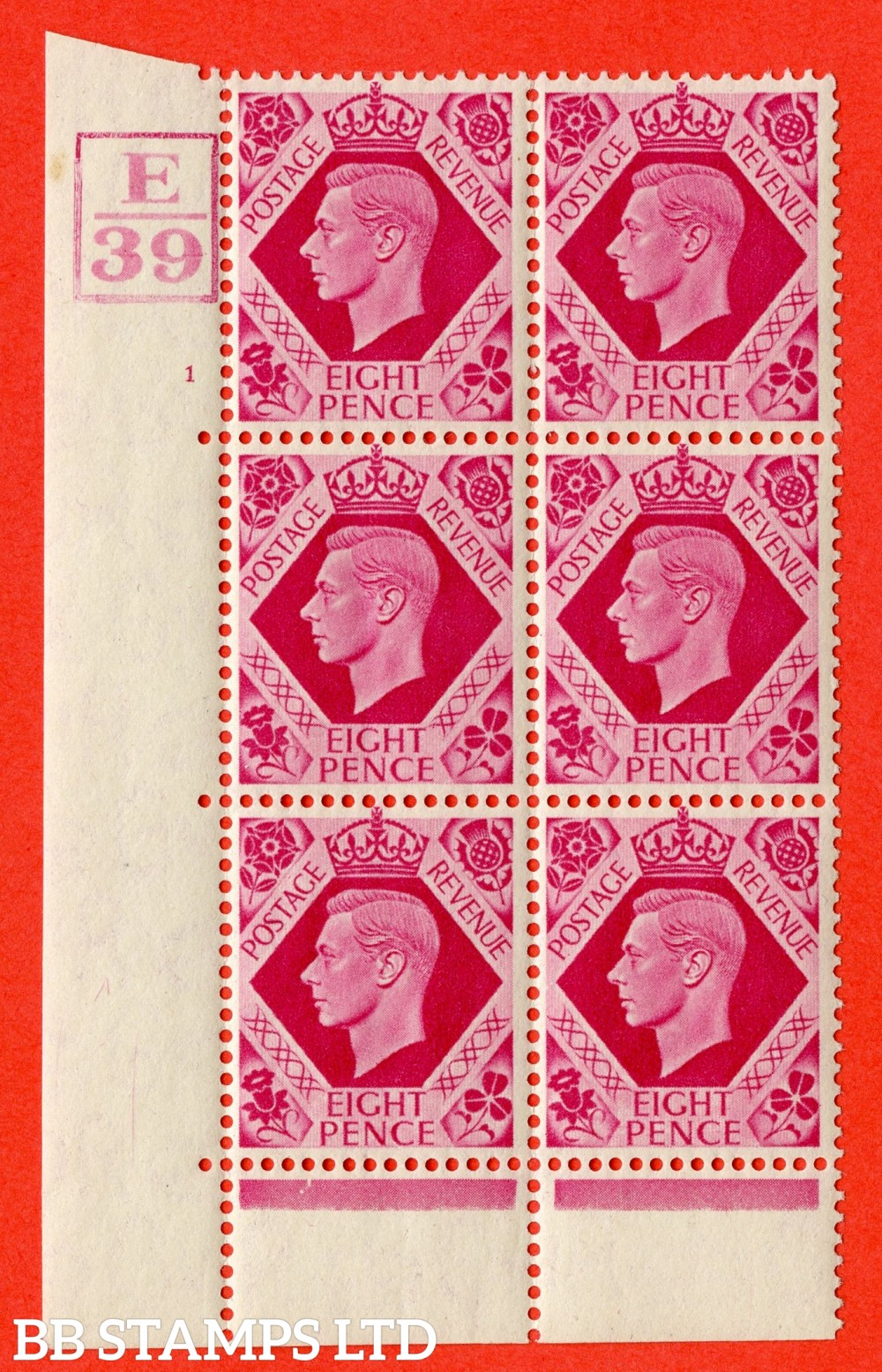 "SG. 472. Q24. 8d Carmine. A fine lightly mounted "" Control E39 Box cylinder 1 no dot "" control block of 6 with perf type 6B E/P."