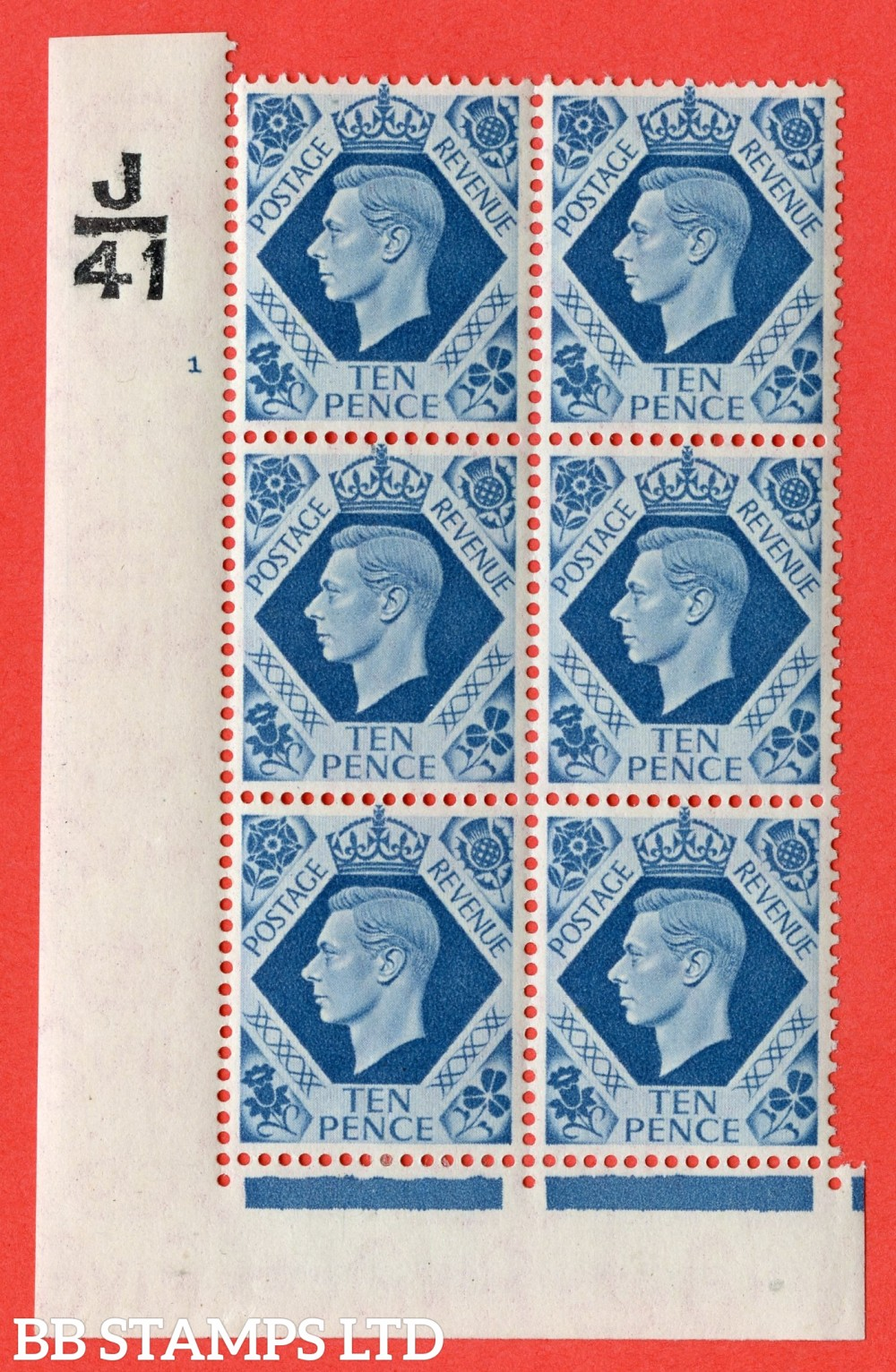 "SG. 474. Q26. 10d Turquoise-Blue. A fine mounted mint "" Control  J41 cylinder 1 no dot "" control block of 6 with perf type 2 I/E."