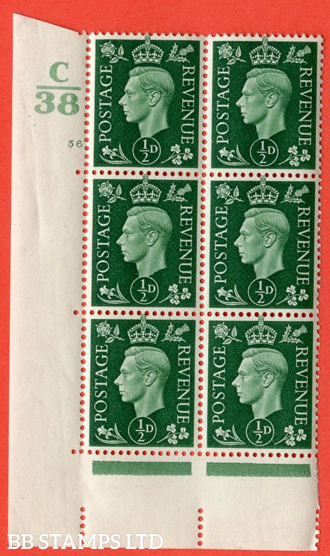 "SG. 462. Q1. ½d Green. A superb UNMOUNTED MINT "" Control C38 cylinder 56 no dot "" block of 6 with perf type 5 E/I with marginal rule."