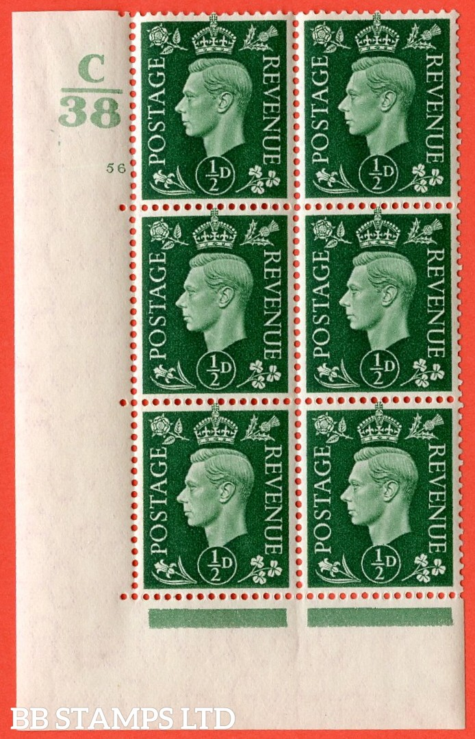 "SG. 462. Q1. ½d Green. A very fine lightly mounted mint "" Control C38 cylinder 56 no dot "" block of 6 with perf type 5 E/I with marginal rule."