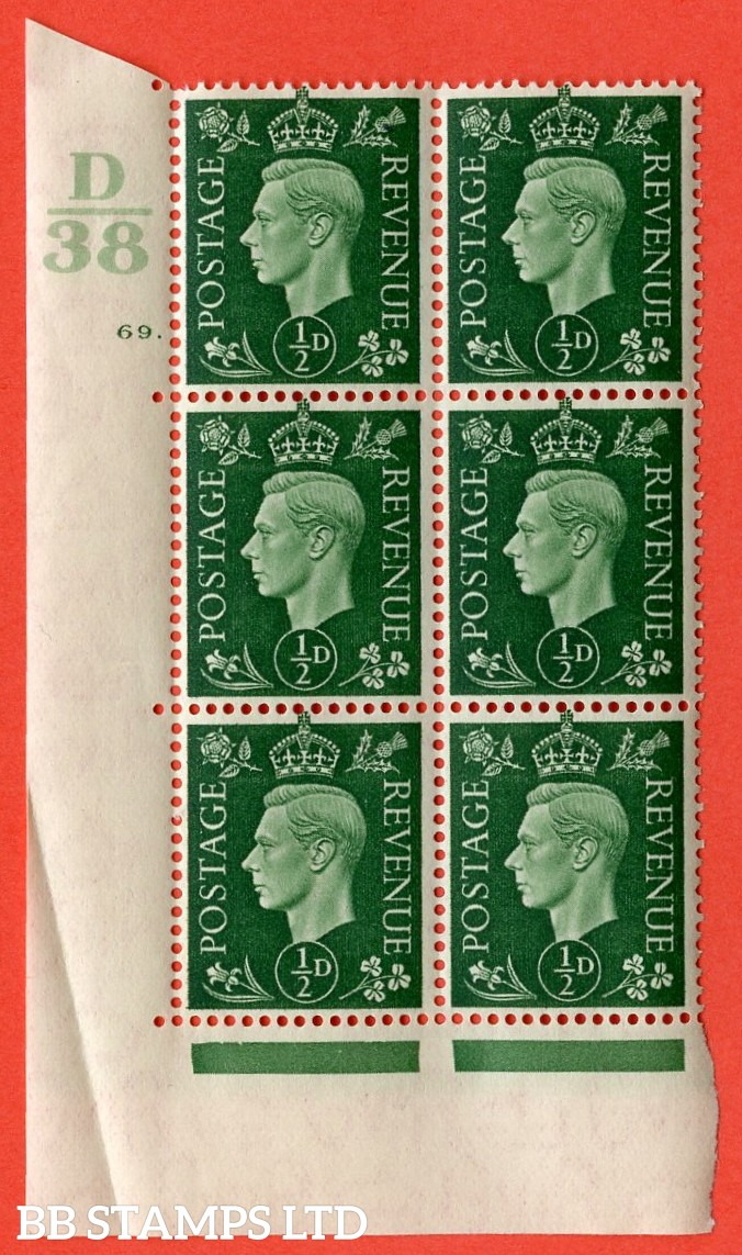 "SG. 462. Q1. ½d Green. A superb UNMOUNTED MINT "" Control D38 cylinder 69 dot "" block of 6 with perf type 5 E/I with marginal rule. Crease in margin."