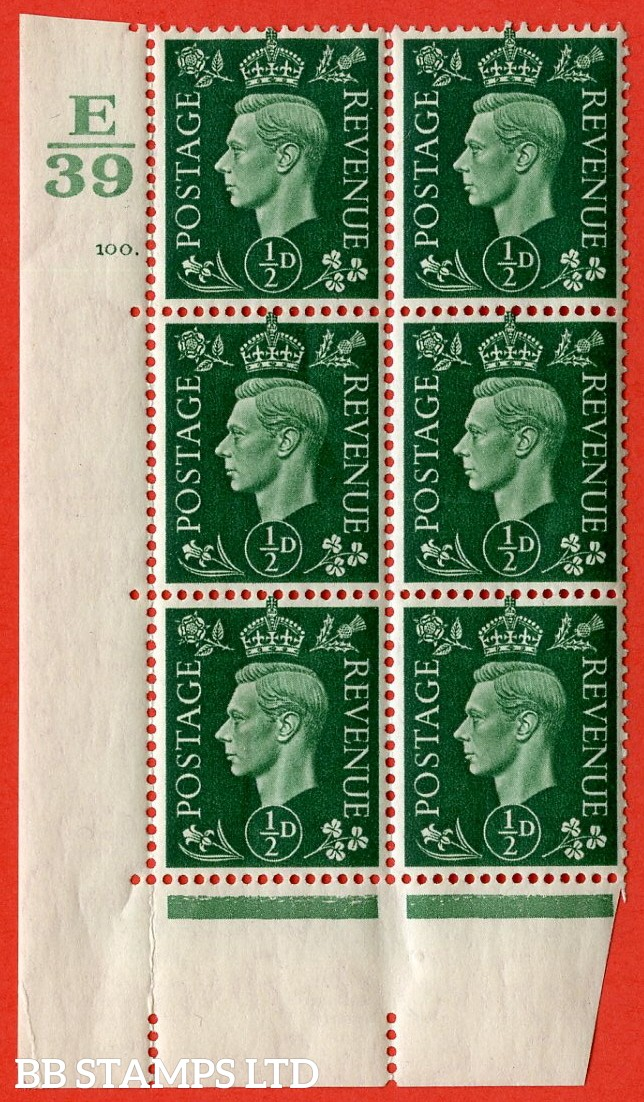 "SG. 462. Q1. ½d Green. A superb UNMOUNTED MINT "" Control E39 cylinder 100 no dot "" block of 6 with perf type 5 E/I with marginal rule. Crease in margin."