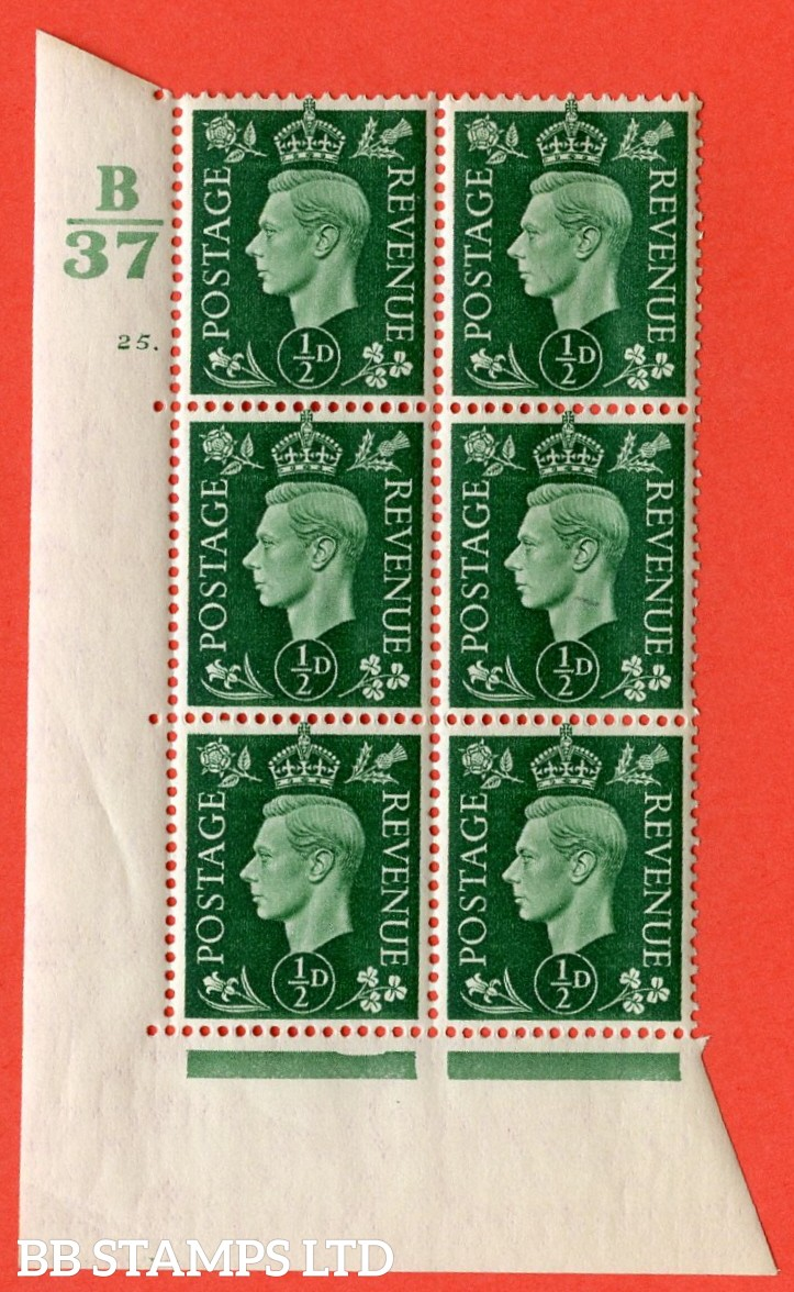 "SG. 462. Q1. ½d Green. A superb UNMOUNTED MINT"" Control B37 cylinder 25 dot "" block of 6 with perf type 5 E/I with marginal rule."