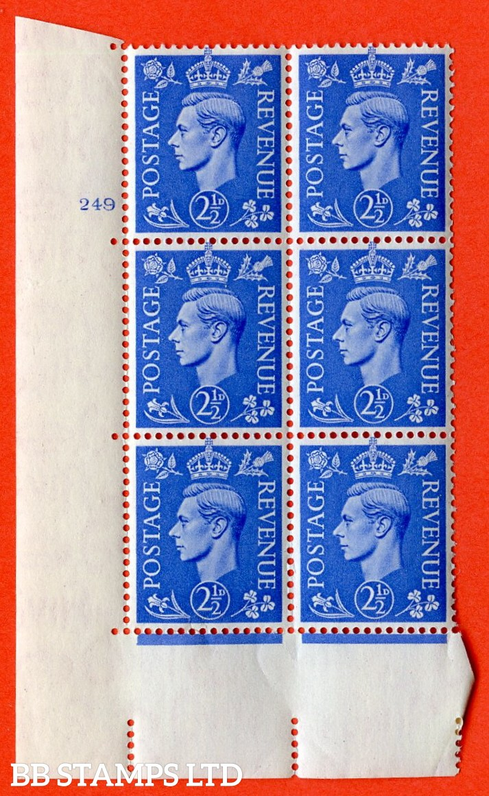 "SG. 489. Q14. 2½d Light ultramarine. A superb UNMOUNTED MINT ""  No Control cylinder 249 no dot "" control block of 6 with perf type 5 E/I."