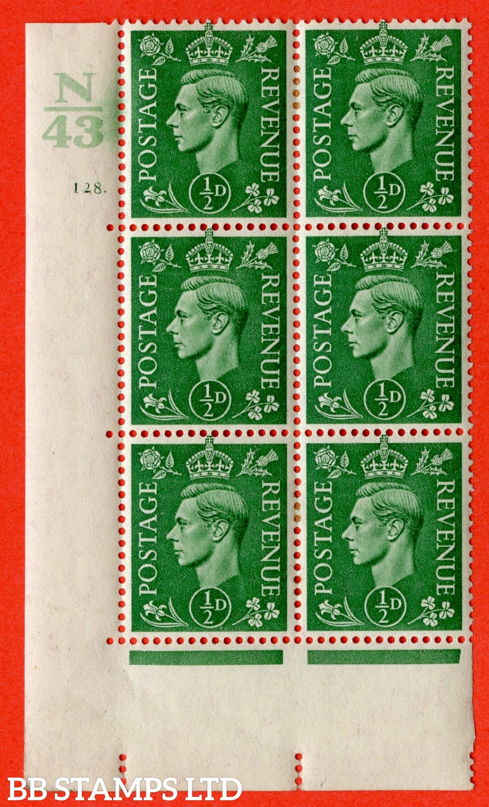 "SG. 485. Q2. ½d Pale Green. A very fine lightly mounted mint "" Control N43 cylinder 128 dot "" block of 6 with perf type 5 E/I with marginal rule."