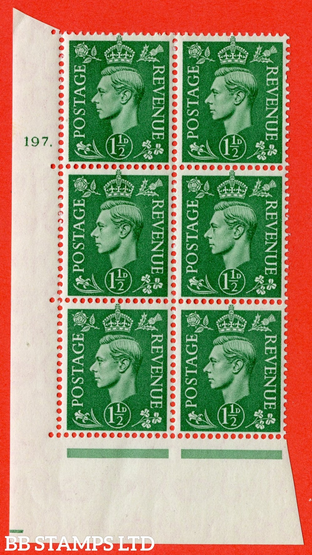 "SG. 505. Q9. 1½d Pale Green. A superb UNMOUNTED MINT "" No Control cylinder 197 dot "" control block of 6 with perf type 5 E/I."
