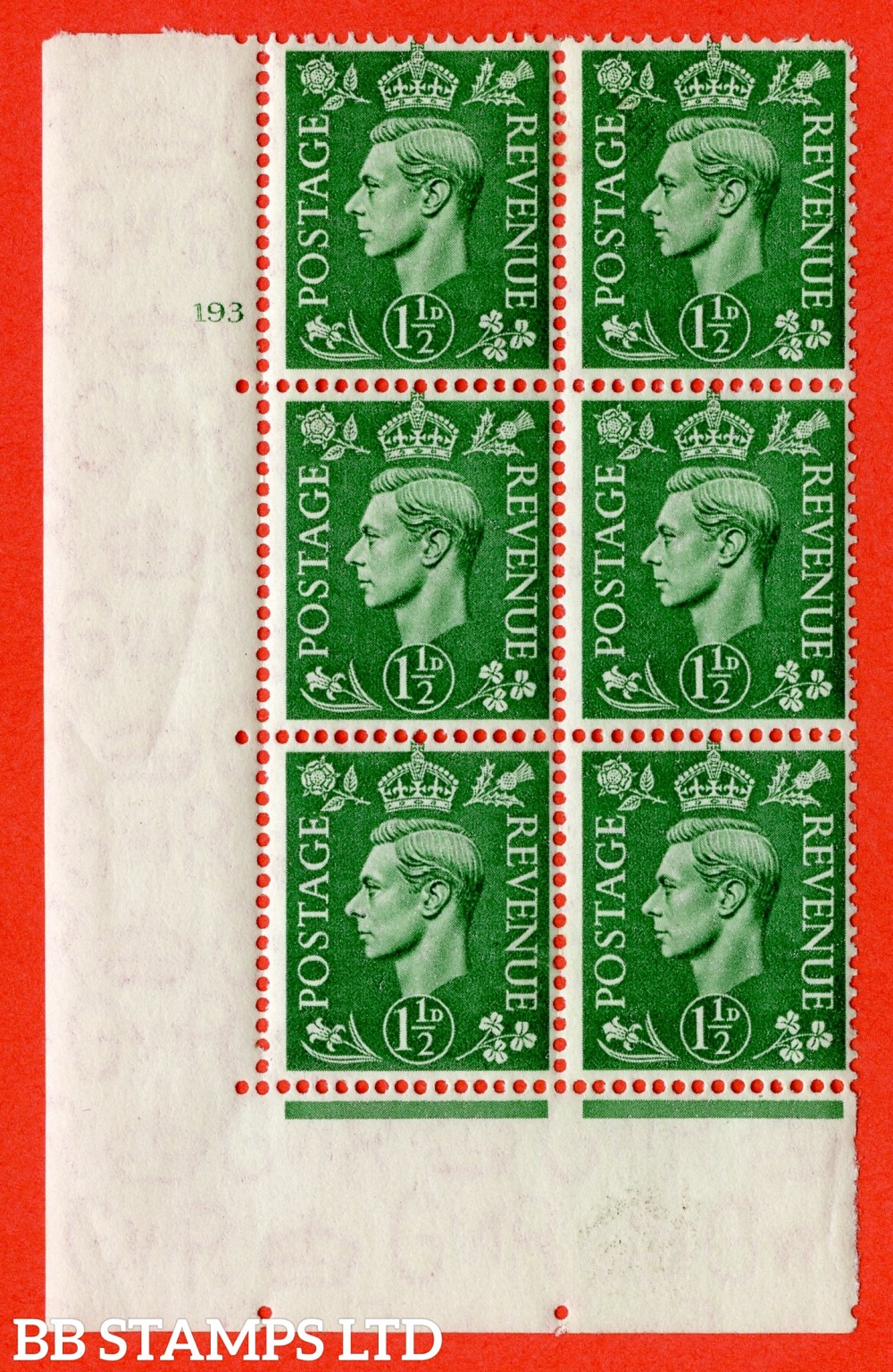 "SG. 505. Q9. 1½d Pale Green. A  very fine lightly mounted mint "" No Control cylinder 193 no dot "" control block of 6 with perf type 5 E/I."