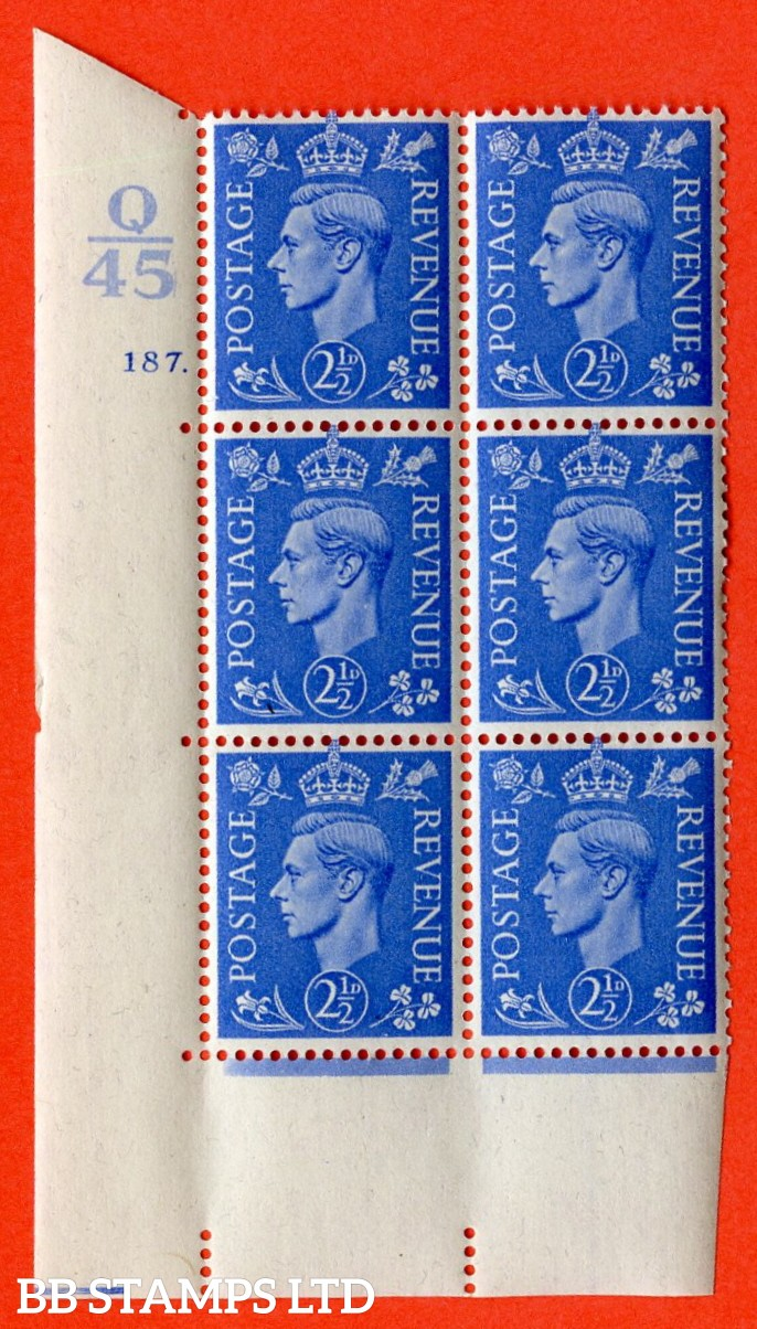 "SG. 489. Q14. 2½d Light ultramarine. A superb UNMOUNTED MINT "" Control Q45 cylinder 187 dot "" control block of 6 with perf type 5 E/I."