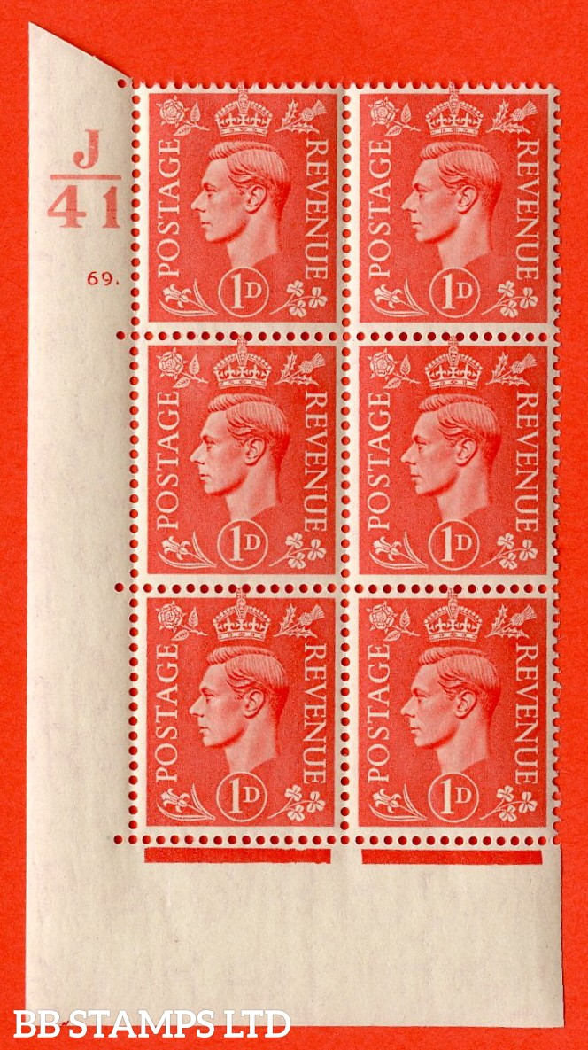 """SG. 486. Q5. 1d Pale scarlet. A superb UNMOUNTED MINT """"  Control J41 cylinder 69 dot """" control block of 6 with perf type 5 E/I."""