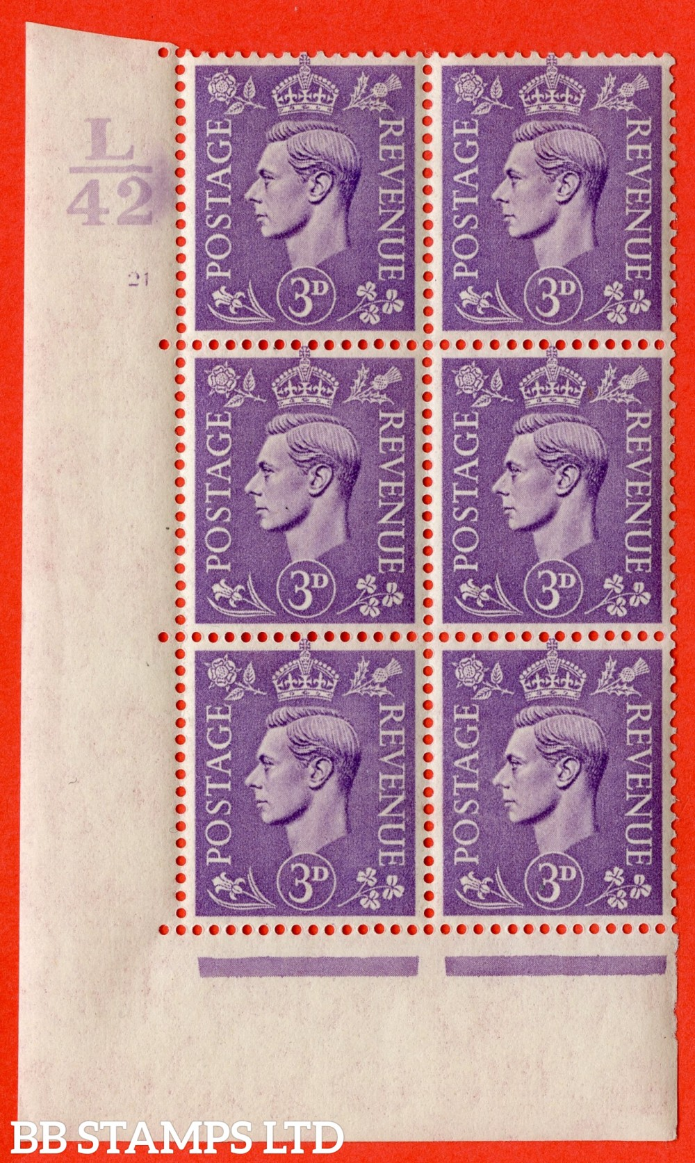 """SG. 490. Q17. 3d pale violet. A very fine lightly mounted mint. """" Control L42 cylinder 21 no dot """" control block of 6 with perf type 5 E/I."""