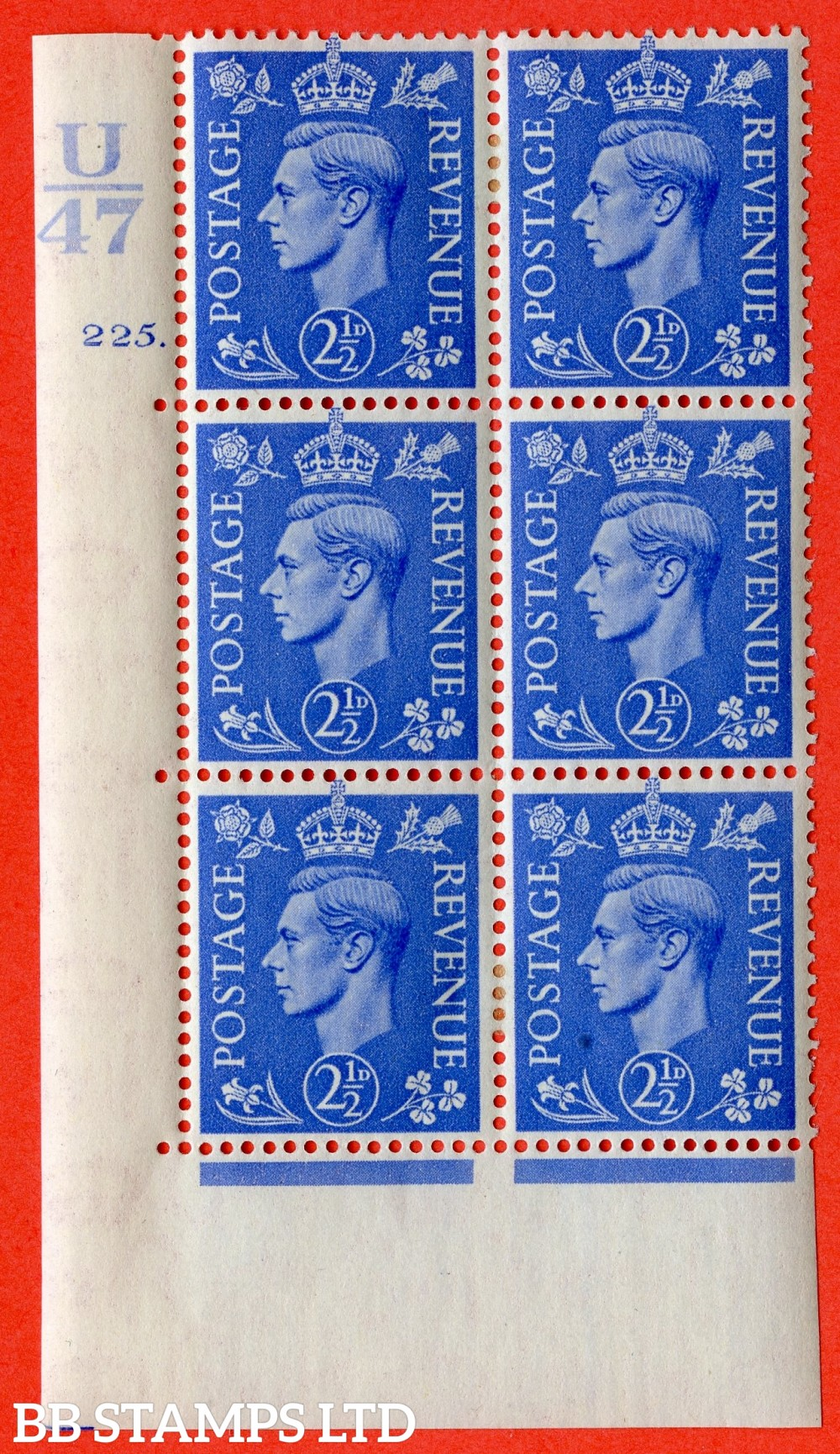 """SG. 489. Q14. 2½d Light ultramarine. A very fine lightly mounted mint """"  Control U47 cylinder 225 dot """" control block of 6 with perf type 5 E/I."""