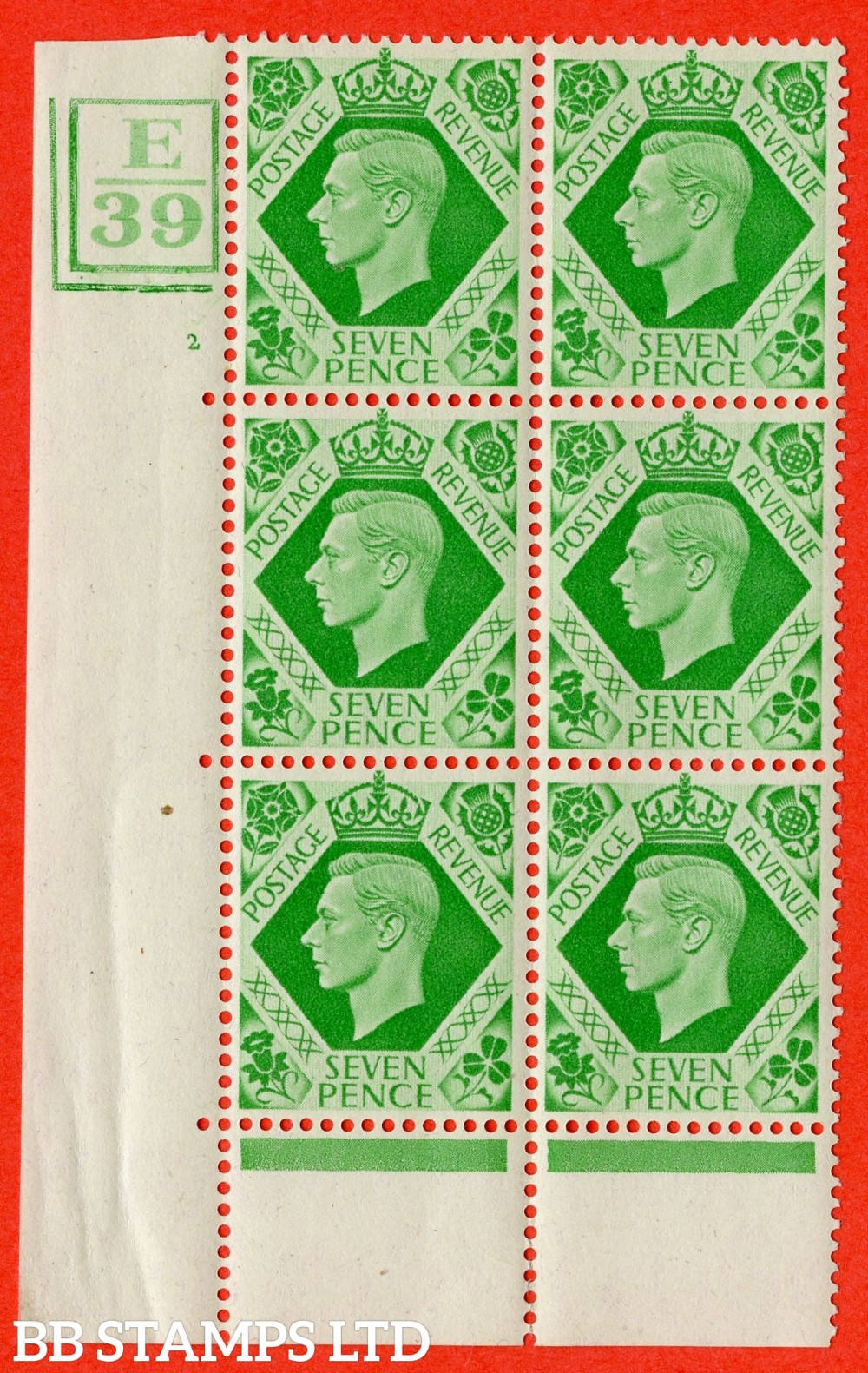 """SG. 471. Q23. 7d Emerald-Green. A superb UNMOUNTED MINT """" Control E39. Box & 2 Bars Cylinder 2 no dot """" control block of 6 with perf type 6B E/P."""