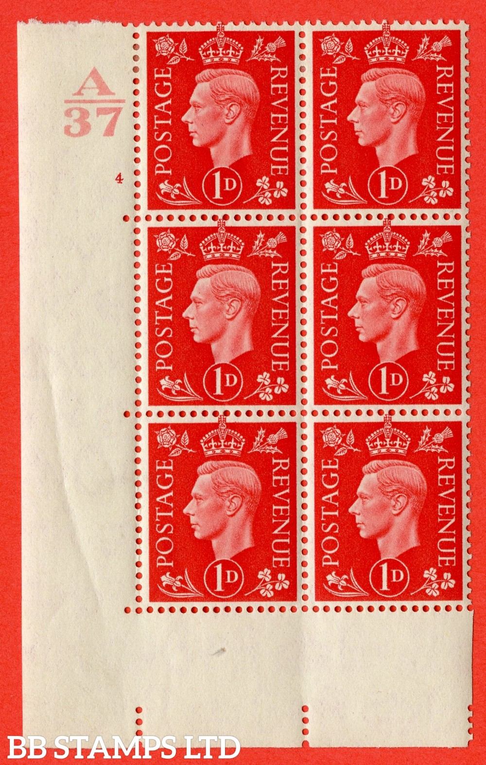 "SG. 463. Q4. 1d Scarlet. A very fine lightly mounted mint "" Control A37 cylinder 4 no dot "" block of 6 with perf type 5 E/I without marginal rule."