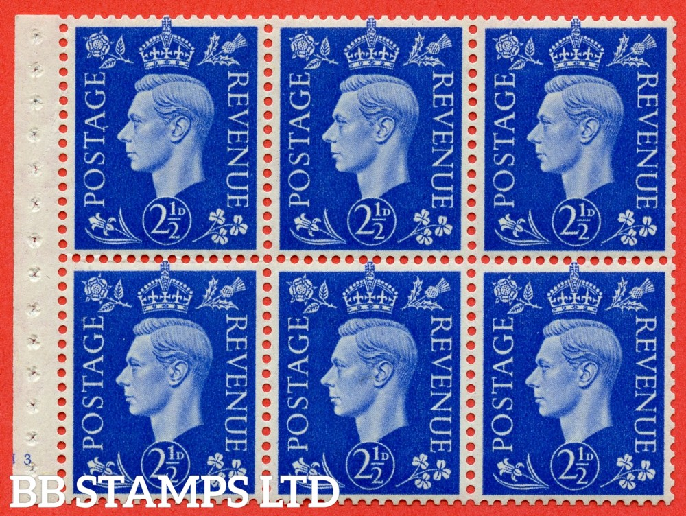 "SG. 466 c. QB32. 2½d blue. A fine UNMOUNTED MINT "" Cylinder J3 "" complete booklet pane of 6 with selvedge. Perf type B3(I)."