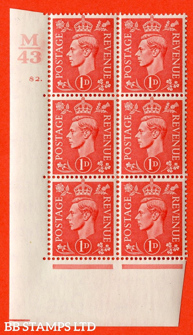 "SG. 486. Q5. 1d Pale scarlet. A fine lightly mounted mint ""  Control M43 cylinder 82 dot "" control block of 6 with perf type 5 E/I."