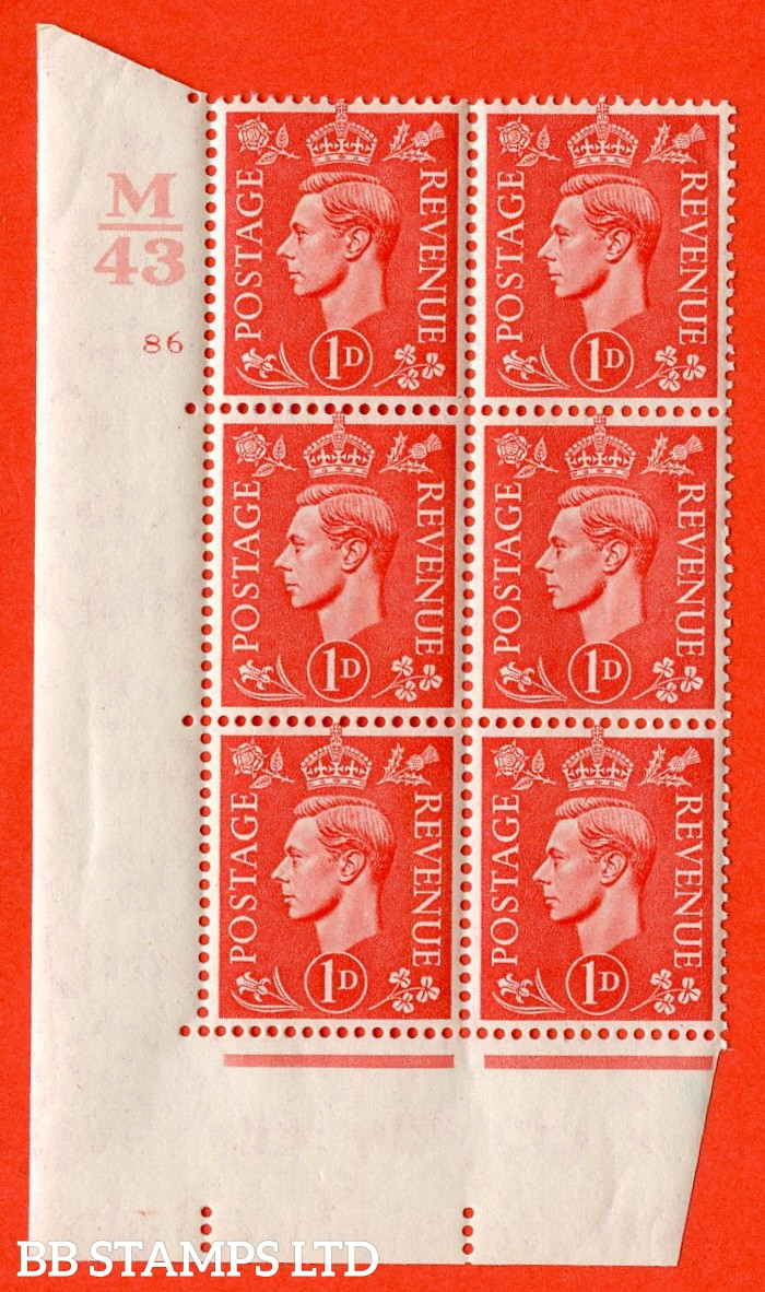 "SG. 486. Q5. 1d Pale scarlet. A superb UNMOUNTED MINT ""  Control M43 cylinder 86 no dot "" control block of 6 with perf type 5 E/I."