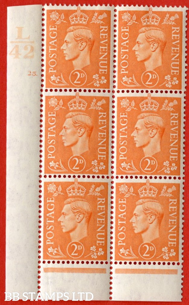 "SG. 488. Q11. 2d Pale Orange. A very fine lightly mounted mint "" Control L42 cylinder 25 dot "" control block of 6 with perf type 6 I/P."