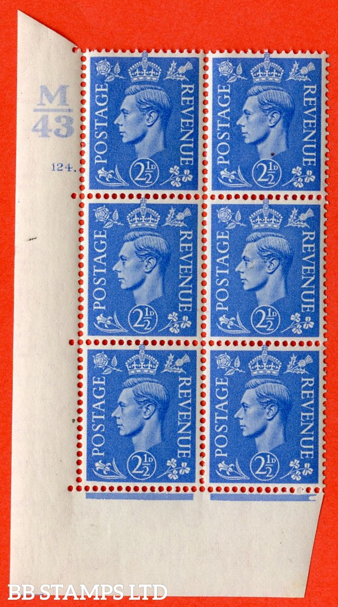 "SG. 489. Q14. 2½d Light ultramarine. A superb UNMOUNTED MINT ""  Control M43 cylinder 124 dot "" control block of 6 with perf type 5 E/I."