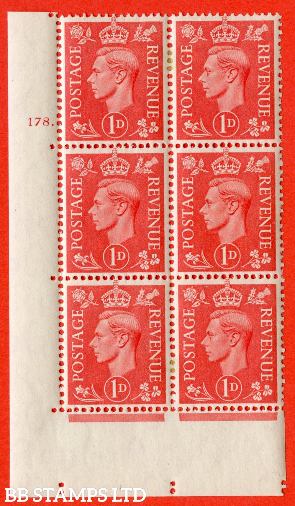 "SG. 486. Q5A. 1d Pale scarlet. A very fine lightly mounted mint ""  No Control cylinder 178 dot "" control block of 6 with perf type 5 E/I."