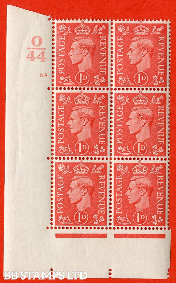 "SG. 486. Q5. 1d Pale scarlet. A very fine lightly mounted mint ""  Control O44 cylinder 98 no dot "" control block of 6 with perf type 5 E/I."