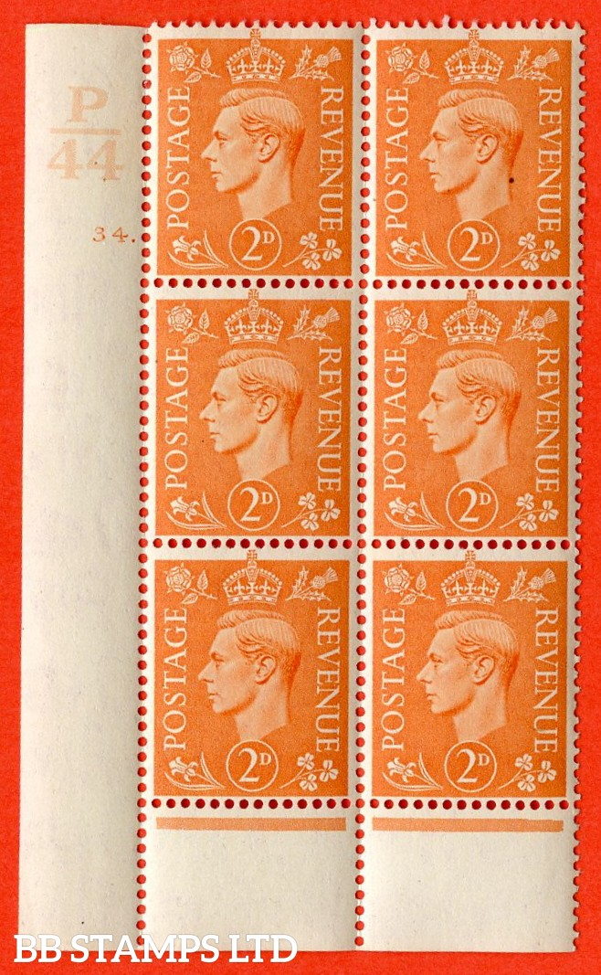 "SG. 488. Q11. 2d Pale Orange. A fine UNMOUNTED MINT "" Control P44 cylinder 34 dot "" control block of 6 with perf type 6 I/P."