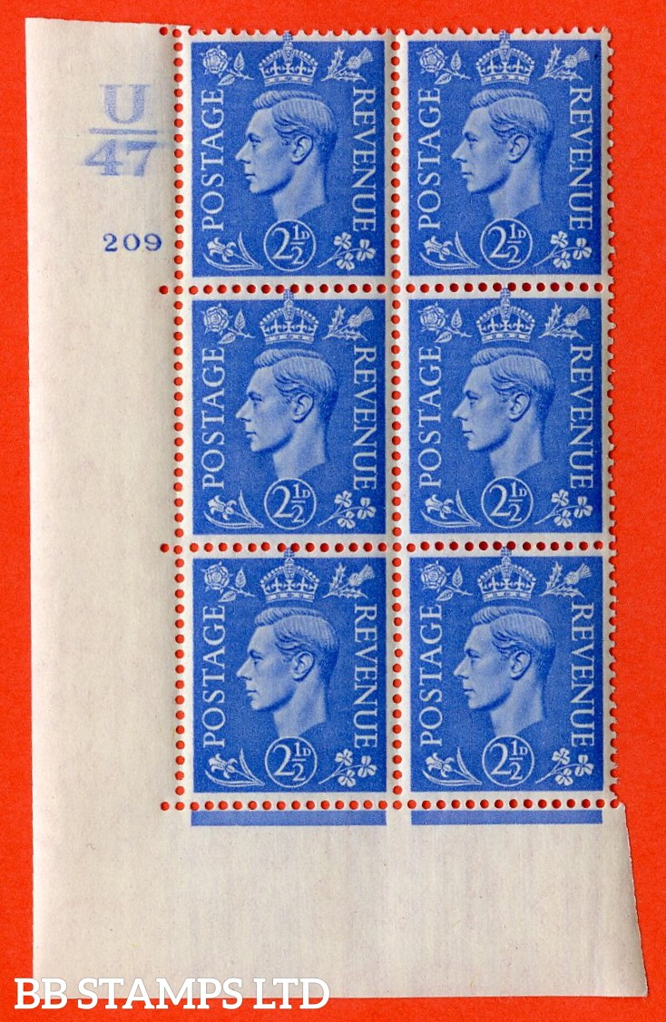 "SG. 489. Q14. 2½d Light ultramarine. A  superb UNMOUNTED MINT ""  Control U47 cylinder 209 no dot "" control block of 6 with perf type 5 E/I."