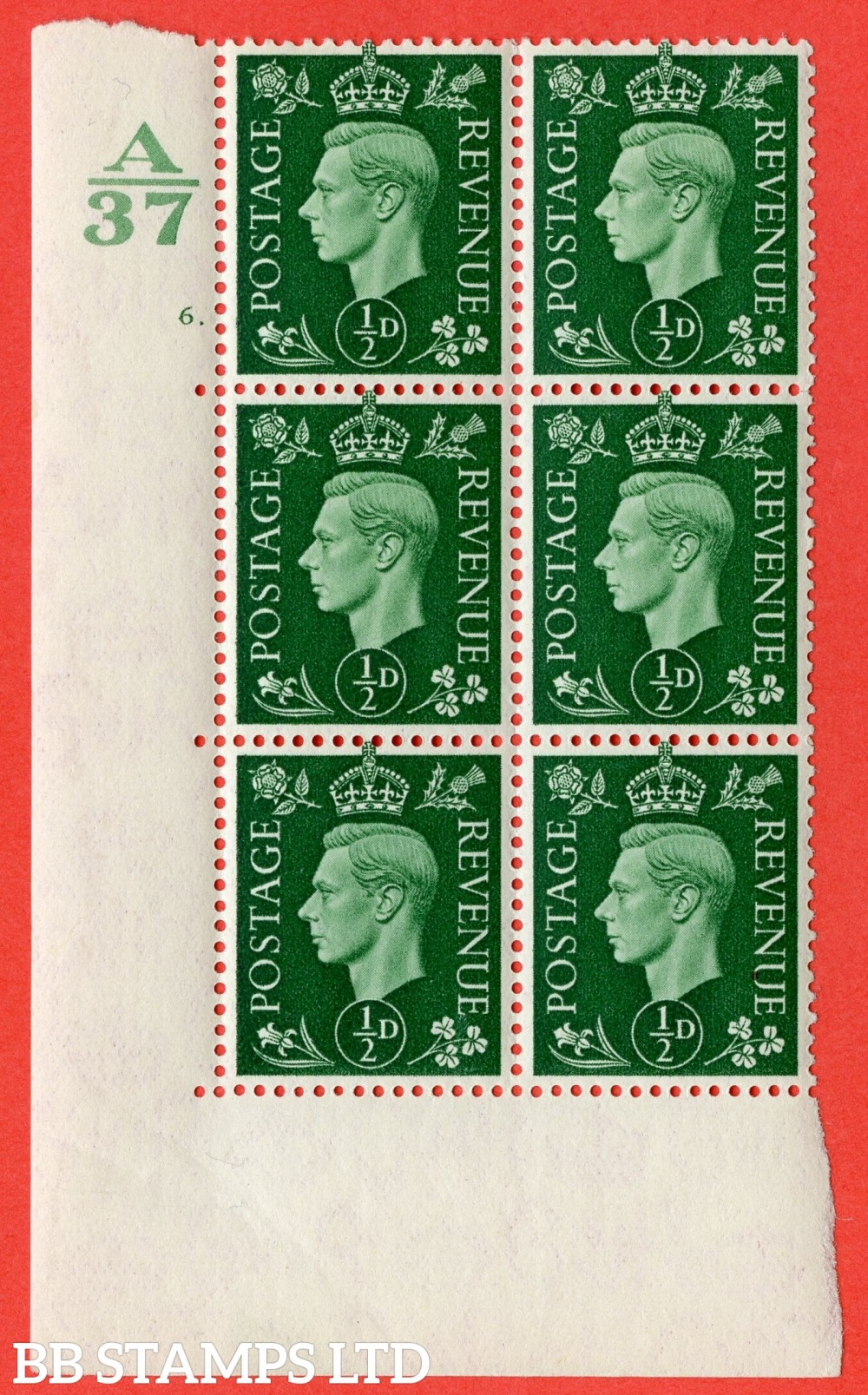 "SG. 462. Q1. ½d Green. A superb UNMOUNTED MINT "" Control A37 cylinder 6 dot "" block of 6 with perf type 5 E/I without marginal rule."