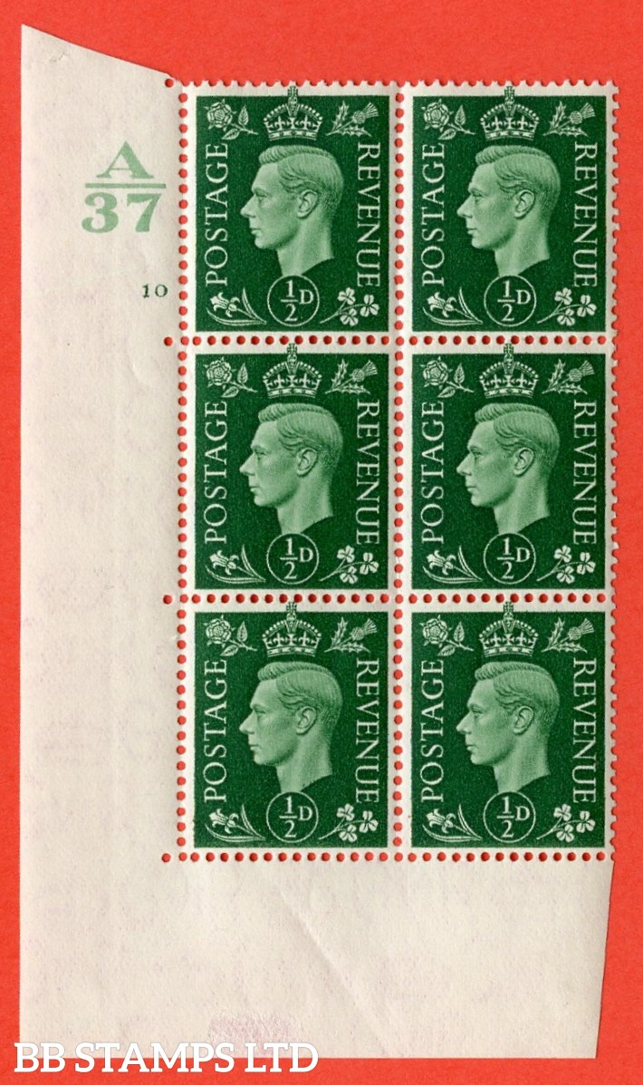 "SG. 462. Q1. ½d Green. A very fine lightly mounted mint "" Control A37 cylinder 10 no dot "" block of 6 with perf type 5 E/I without marginal rule."