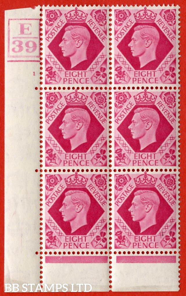 "SG. 472. Q24. 8d Carmine. A very fine lightly mounted mint "" Control E39 box and bar at bottom cylinder 1 no dot "" control block of 6 with perf type 6B E/P."