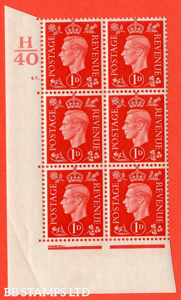 "SG. 463. Q4. 1d Scarlet. A superb UNMOUNTED MINT "" Control H40 cylinder 45 dot "" block of 6 with perf type 5 E/I with marginal rule."