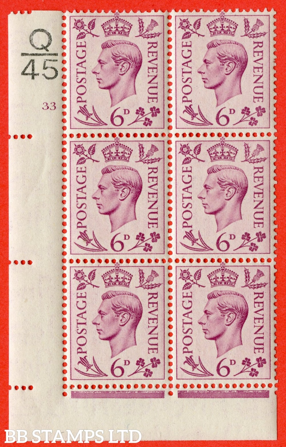 """SG. 470. Q22. 6d Purple. A fine lightly mounted mint """" Control Q45 cylinder 33 no dot """" control block of 6 with perf type 2 I/E."""