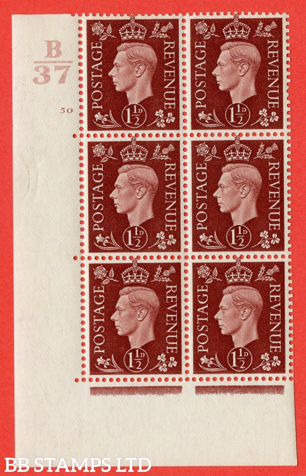 "SG. 464. Q7. 1½d Red-Brown. A superb UNMOUNTED MINT "" Control B37 cylinder 50 no dot "" control block of 6 with perf type 5 E/I. with marginal rule."