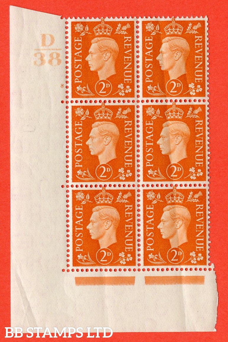 "SG. 465. Q10. 2d Orange. A superb UNMOUNTED MINT "" Control D38 cylinder 8 no dot "" control block of 6 with perf type 5 E/I. Creased."