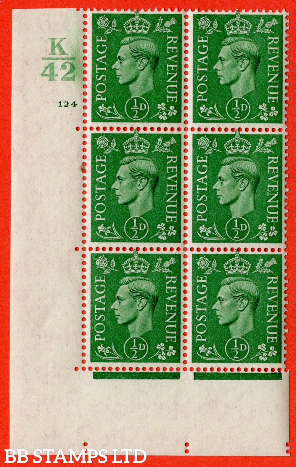 "SG. 485. Q2. ½d Pale Green. A very fine lightly mounted mint "" Control K42 cylinder 124 no dot "" block of 6 with perf type 5 E/I with marginal rule."