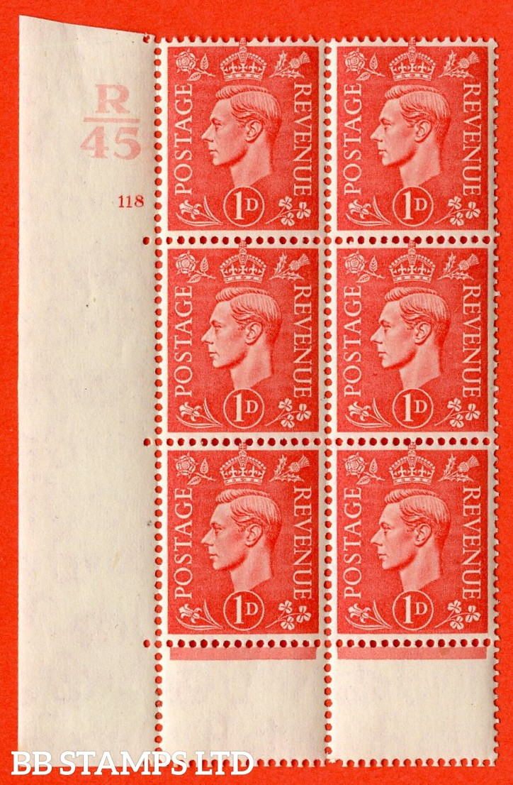 "SG. 486. Q5. 1d Pale scarlet. A very fine lightly mounted mint ""  Control R45 cylinder 118 no dot "" control block of 6 with perf type 5 E/I. Perf encroachment."