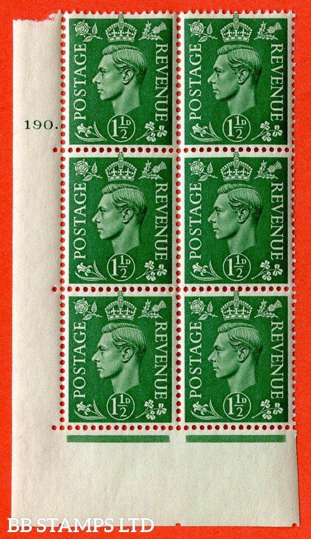 "SG. 505. cQ9. 1½d Pale Green. A superb UNMOUNTED MINT "" No Control cylinder 190 dot "" control block of 6 with perf type 5 E/I."